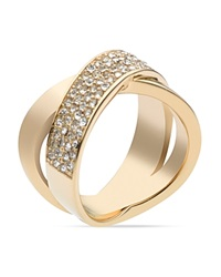 Michael Kors Pave Criss Cross Band Ring Gold