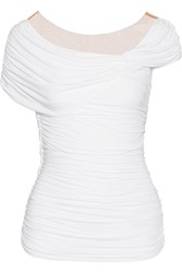 Bailey 44 Ruched Stretch Jersey Top White