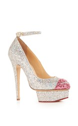Charlotte Olympia Kiss Me Dolores Ankle Strap Heel Silver