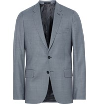 Paul Smith Blue Soho Slim Fit Houndstooth Wool Suit Jacket Blue