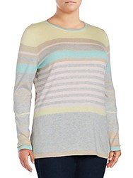 Basler Plus Size Striped Silk And Cashmere Blend Pullover Grey Multi