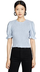 English Factory Smocked Puff Sleeve Top Blue
