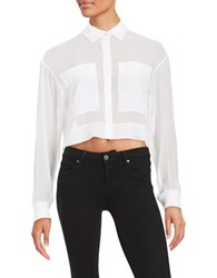 Dkny Cropped Button Front Shirt White