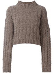 Vivienne Westwood Anglomania Cable Knit Jumper Brown