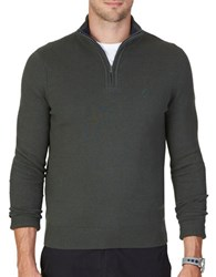 Nautica Big And Tall Quarter Zip Long Sleeve Cotton Blend Sweater Moss Heather
