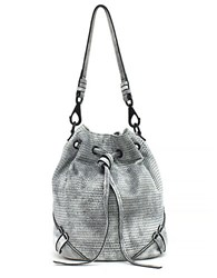 She Lo Silver Lining Drawstring Leather Bag Black White