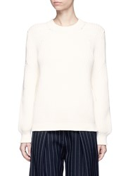 Victoria Beckham Balloon Sleeve Chunky Rope Knit Sweater White