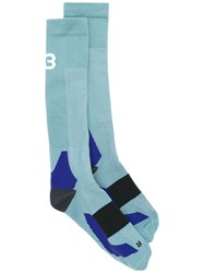 Y 3 Abstract Logo Socks Unisex Polyester L Blue