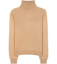 Saint Laurent Cashmere Turtleneck Sweater Brown