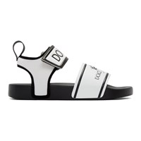 Dolce And Gabbana White Black Logo Sandals 89690 Nerob
