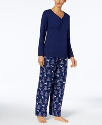 Charter Club Flannel Mix It Top And Printed Pants Pajama Set Created For Macy's Reindeer