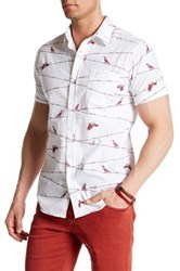 Straight Faded Wire Bird Modern Fit Short Sleeve Print Shirt Red