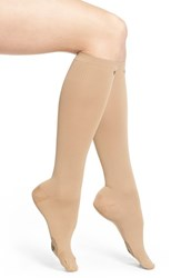 Women's Pretty Polly 'On The Go' Compression Trouser Socks Beige Natural