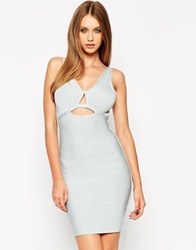 Asos Sculpt Metallic Cutout Bandage Mini Bodycon Dress