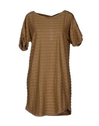 M.Grifoni Denim Short Dresses Camel