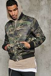 Forever 21 Camo Print Bomber Jacket Olive Brown