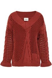 Charli Woman Open And Cable Knit Sweater Brick