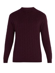 Connolly Crew Neck Cable Knit Cashmere Sweater Burgundy