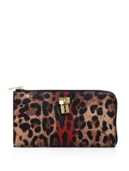 Dolce And Gabbana Leopard Print Leather Continental Zip Wallet Brown