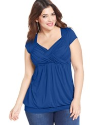 Soprano Plus Size Cap Sleeve Ruched Empire Top Snorkel