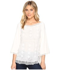 Hale Bob New Frontiers Mix Media Lace Jersey Top Ivory Women's Clothing White