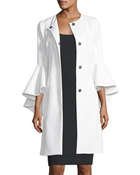 Milly Selena 3 4 Sleeve Snap Front Coat White