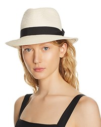 Aqua Packable Ribbon Trim Fedora 100 Exclusive Natural Black