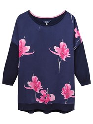 Joules Kitty Floral Print Jumper Navy Orchid