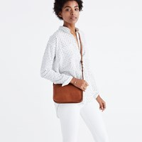 Madewell Shrunken Trapeze Shirt In Penpoint Dot Tri Pale Parchment