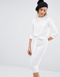 Fashion Union High Neck Knit Dress With Tie Up Waist Cream