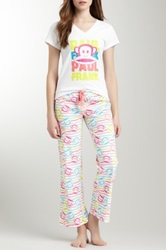 Paul Frank V Neck White Tee And Pajama Pant Set