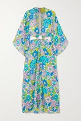 Dodo Bar Or Shelly Cutout Floral Print Cotton Voile Maxi Dress Turquoise