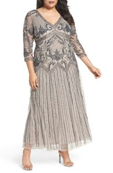 Pisarro Nights Plus Size Women's Embellished Chiffon Long Dress Silver