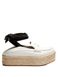 Miu Miu Leather Espadrille Flatform Loafers White
