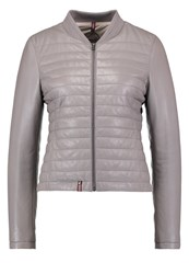 Oakwood Leather Jacket Light Grey
