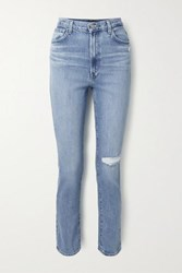 J Brand 1212 Runway Distressed High Rise Slim Leg Jeans Mid Denim