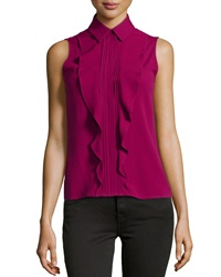 Philosophy Di Alberta Ferretti Pleated Ruffle Blouse Cranberry