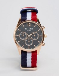 Reclaimed Vintage Multistripe Canvas Chronograph Watch With Black Dial Multi