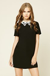Forever 21 Crochet Collar Shift Dress Black Cream