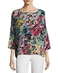 M Missoni 3 4 Sleeve Abstract Floral Print Silk Top Multi Pattern