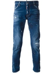 Dsquared2 Sexy Twist Paint Splatter Jeans Blue