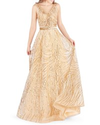 Mac Duggal Sequined V Neck Sleeveless Belted Novelty Tulle Gown Gold