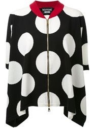 Boutique Moschino Polka Dot Intarsia Zipped Cardigan Black