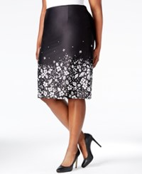 Tahari By Arthur S. Levine Tahari Asl Plus Size Floral Print Poplin Pencil Skirt Black White
