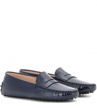 Tod's Gommini Patent Leather Loafers Blue