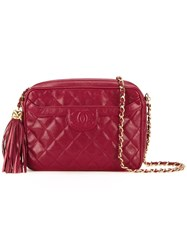Chanel Vintage Fringe Detail Shoulder Bag Red