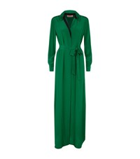 Diane Von Furstenberg Geanb Silk Maxi Shirt Dress Female Green