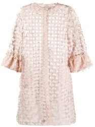 D.Exterior Embroidered Tulle Jacket Neutrals