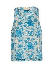 By Walid Layered Floral Print Silk Tank Top Blue White