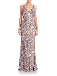 Jovani Embellished Floral Lace Gown Navy